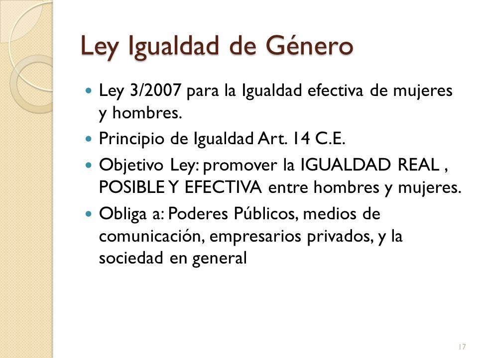 Ley Igualdad de Género Ley 3/2007 para la Igualdad efectiva de mujeres y hombres. Principio de Igualdad Art. 14 C.E.