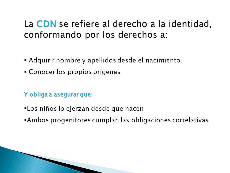 La CDN se refiere al derecho a la identidad, conformando por los derechos a: