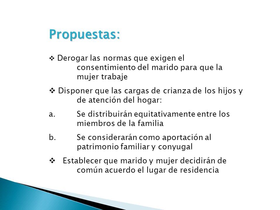 Propuestas: Derogar las normas que exigen el consentimiento del marido para que la mujer trabaje.