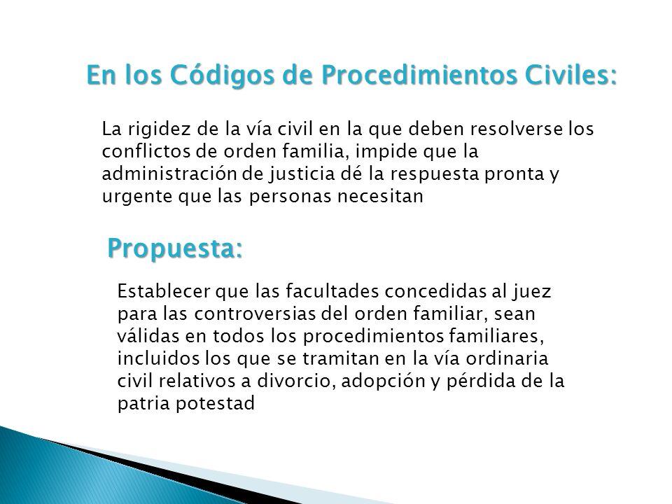 En los Códigos de Procedimientos Civiles: