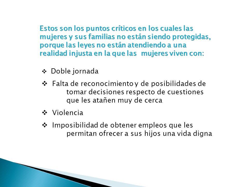 Estos son los puntos críticos en los cuales las mujeres y sus familias no están siendo protegidas, porque las leyes no están atendiendo a una realidad injusta en la que las mujeres viven con:
