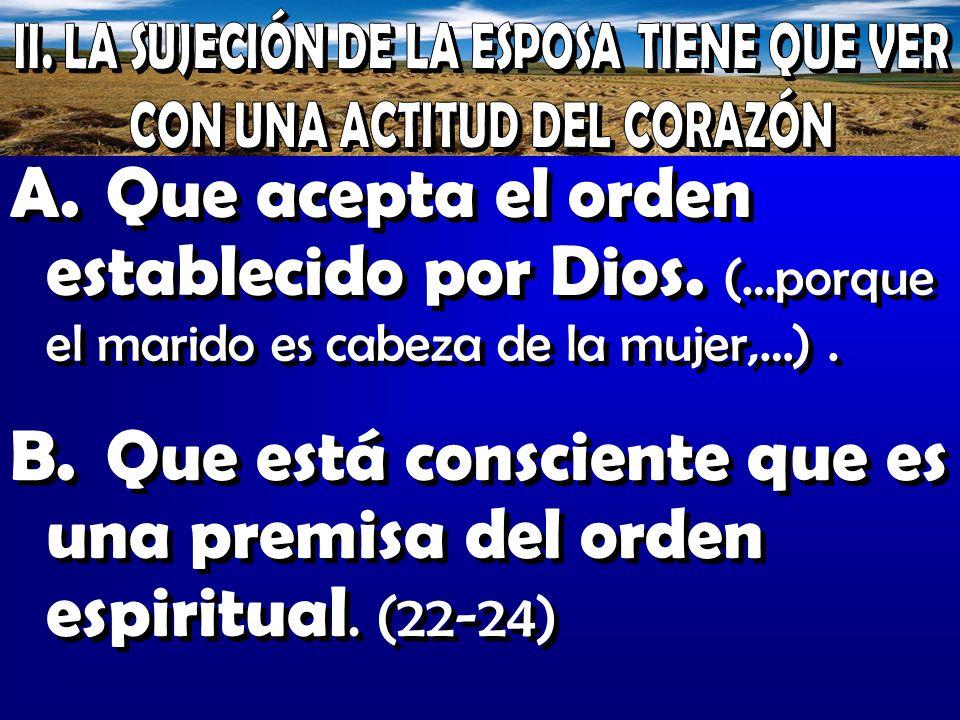 Que está consciente que es una premisa del orden espiritual. (22-24)