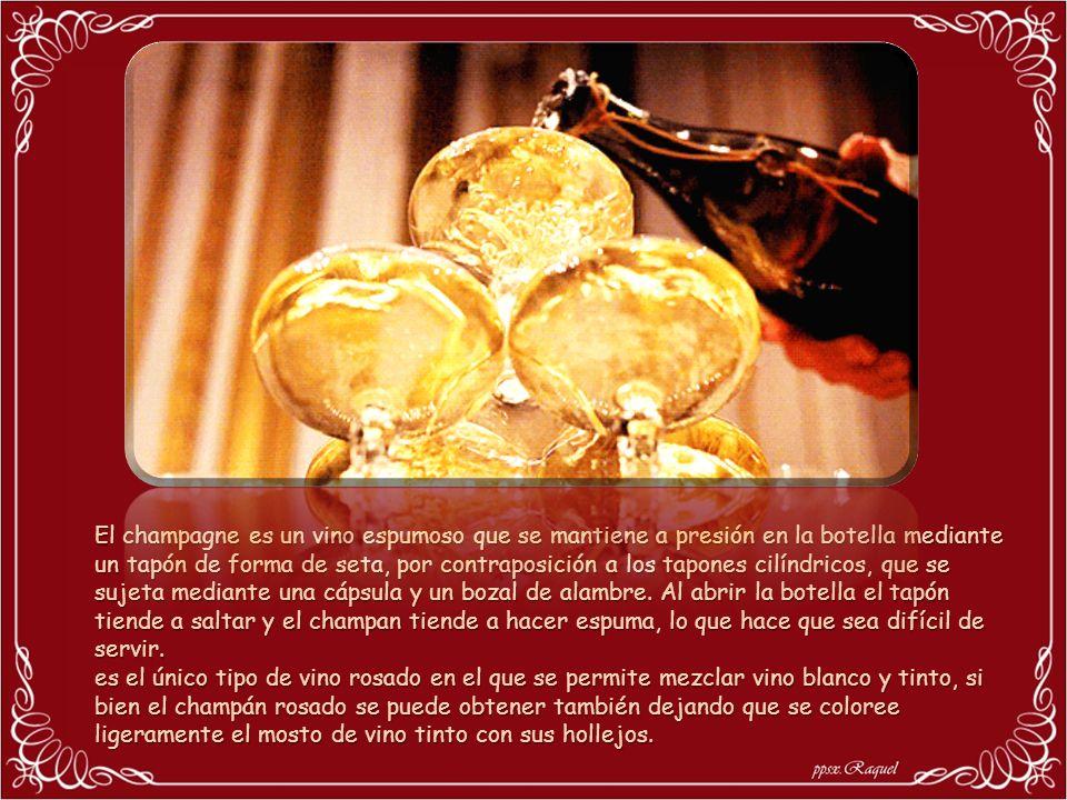 El champagne es un vino espumoso que se mantiene a presión en la botella mediante un tapón de forma de seta, por contraposición a los tapones cilíndricos, que se sujeta mediante una cápsula y un bozal de alambre. Al abrir la botella el tapón tiende a saltar y el champan tiende a hacer espuma, lo que hace que sea difícil de servir.