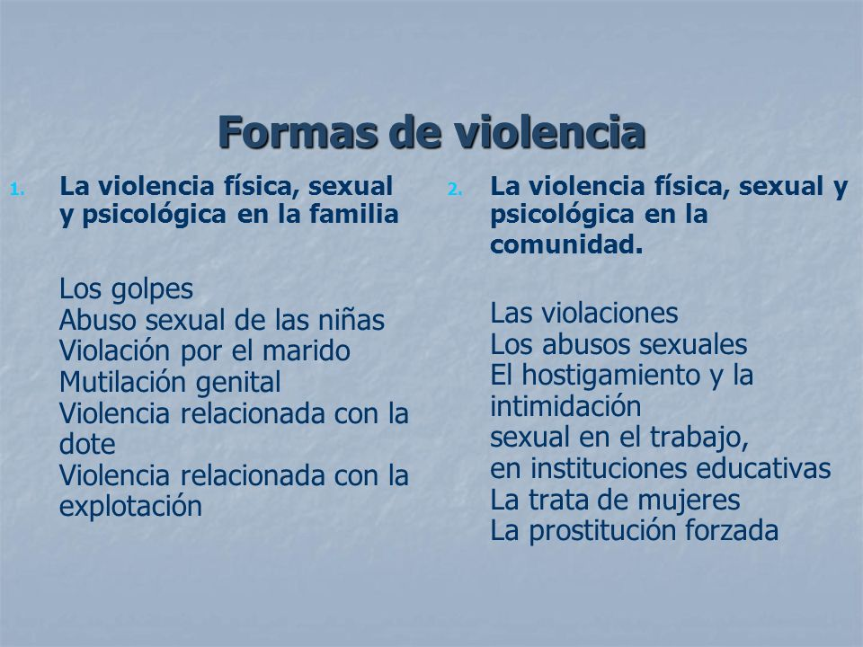 Formas de violencia La violencia física, sexual y psicológica en la familia.