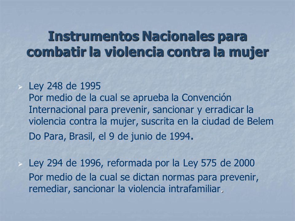 Instrumentos Nacionales para combatir la violencia contra la mujer