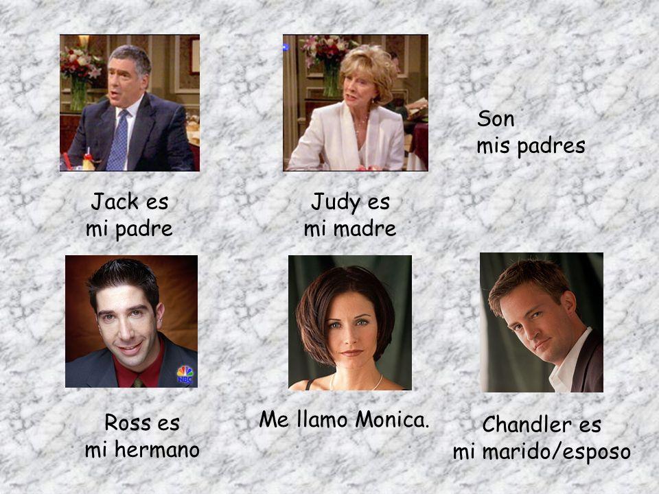 Son mis padres. Jack es. mi padre. Judy es. mi madre. Ross es. mi hermano. Me llamo Monica. Chandler es.