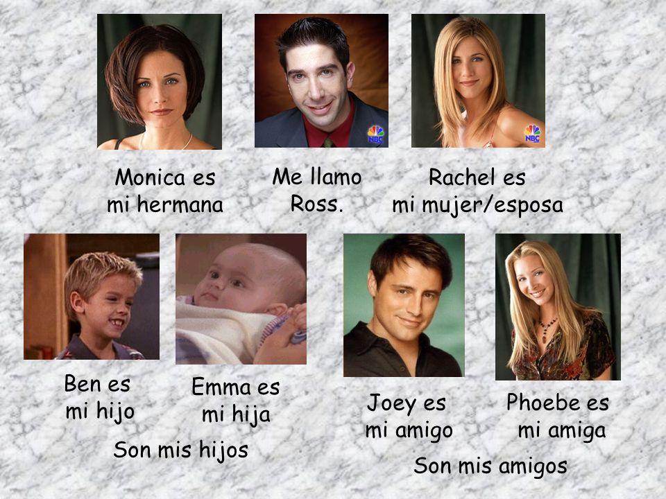 Monica es mi hermana. Me llamo Ross. Rachel es. mi mujer/esposa. Ben es. mi hijo. Emma es. mi hija.