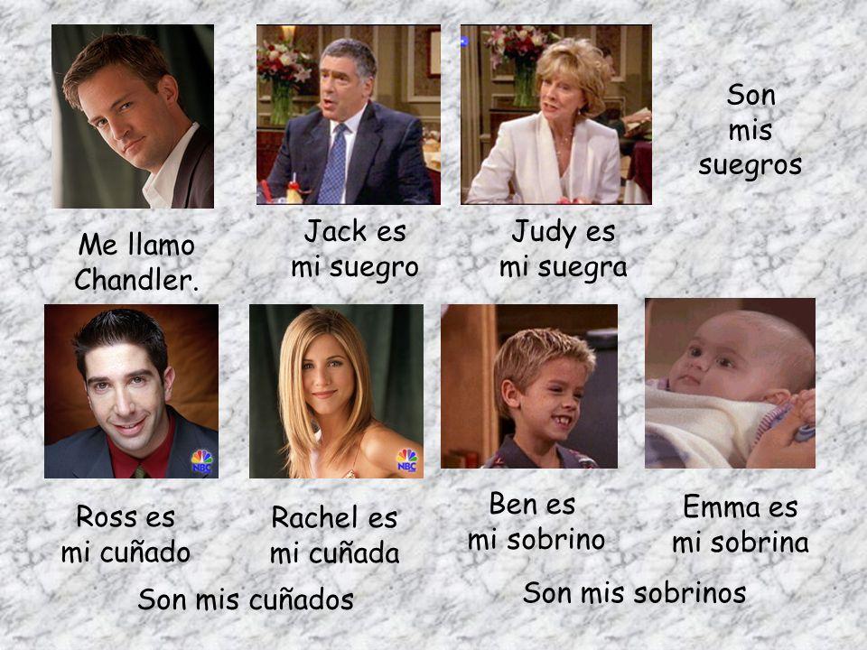 Son mis. suegros. Jack es. mi suegro. Judy es. mi suegra. Me llamo Chandler. Ben es. mi sobrino.