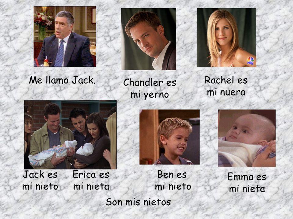 Me llamo Jack. Rachel es. mi nuera. Chandler es. mi yerno. Jack es. mi nieto. Erica es. mi nieta.
