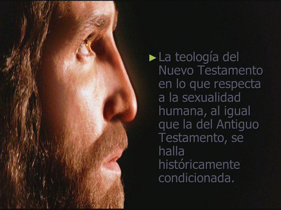 La teología del Nuevo Testamento en lo que respecta a la sexualidad humana, al igual que la del Antiguo Testamento, se halla históricamente condicionada.