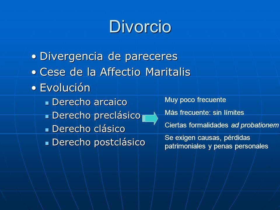 Divorcio Divergencia de pareceres Cese de la Affectio Maritalis