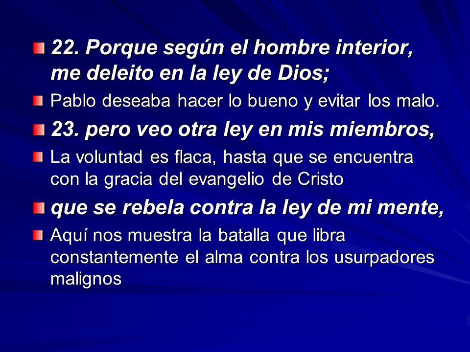 22. Porque según el hombre interior, me deleito en la ley de Dios;