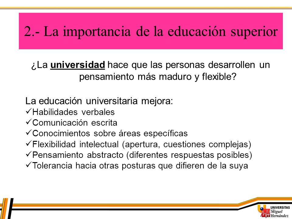2.- La importancia de la educación superior