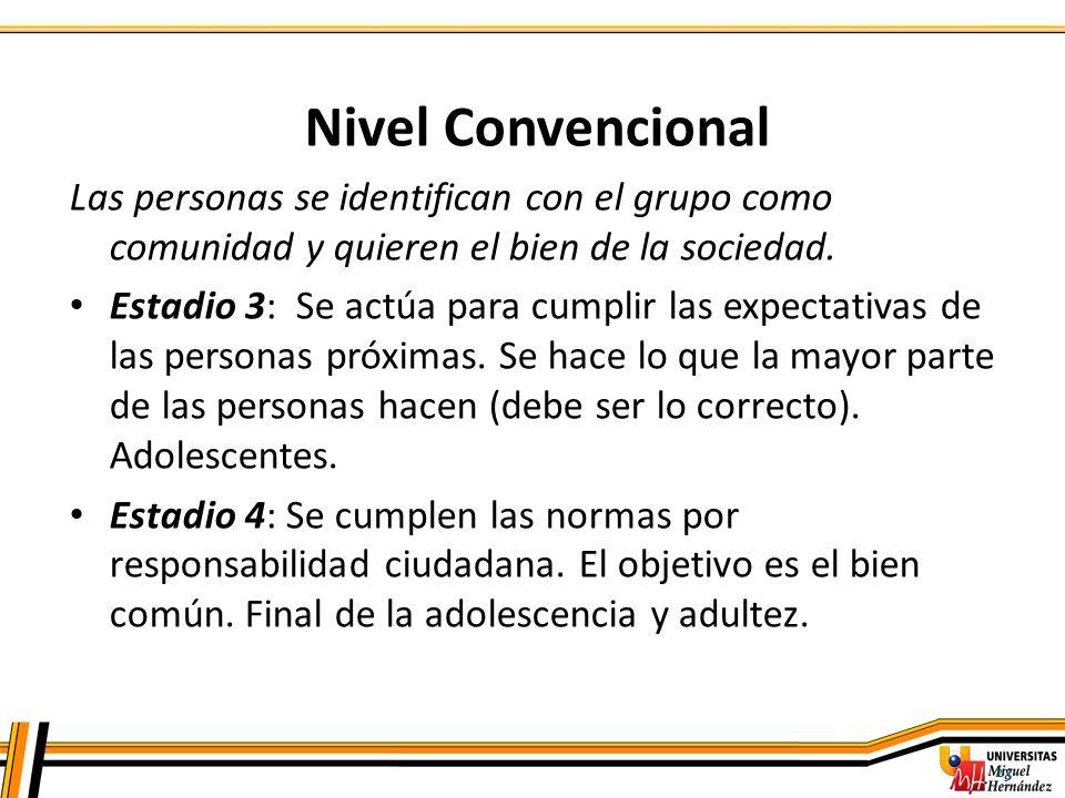 Nivel Convencional Las personas se identifican con el grupo como comunidad y quieren el bien de la sociedad.