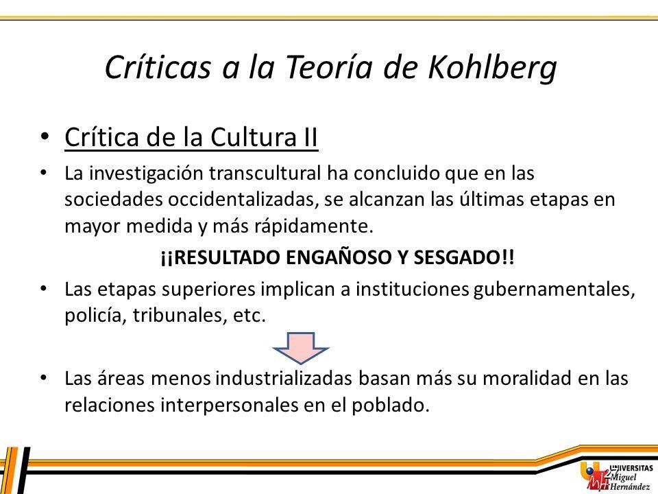 Críticas a la Teoría de Kohlberg