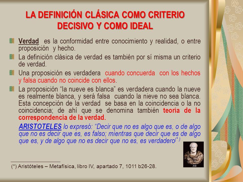 LA DEFINICIÓN CLÁSICA COMO CRITERIO DECISIVO Y COMO IDEAL