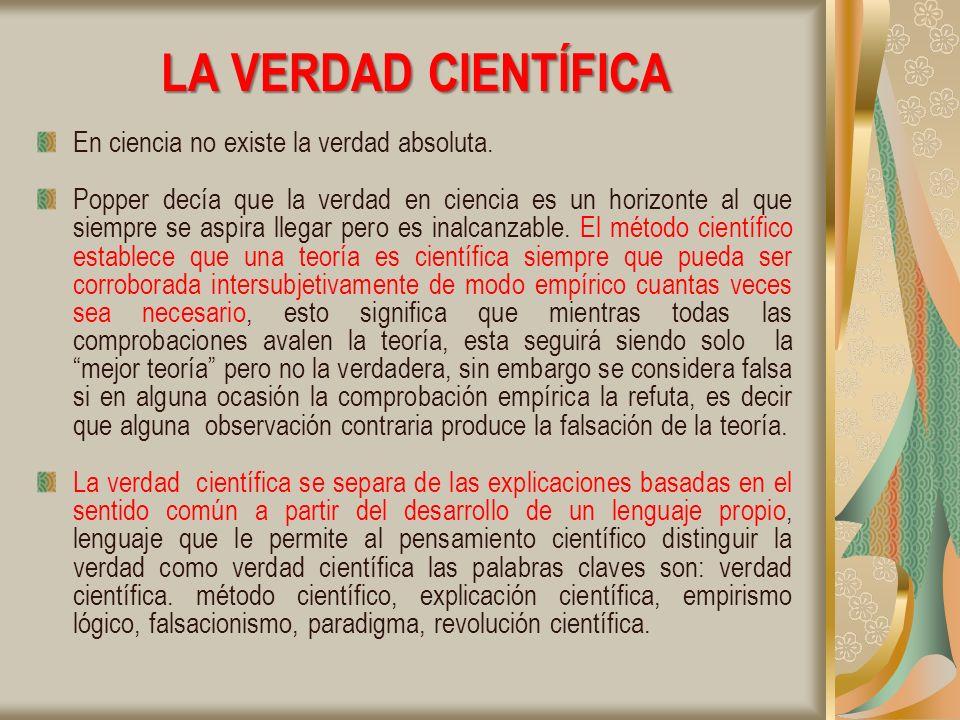 LA VERDAD CIENTÍFICA En ciencia no existe la verdad absoluta.