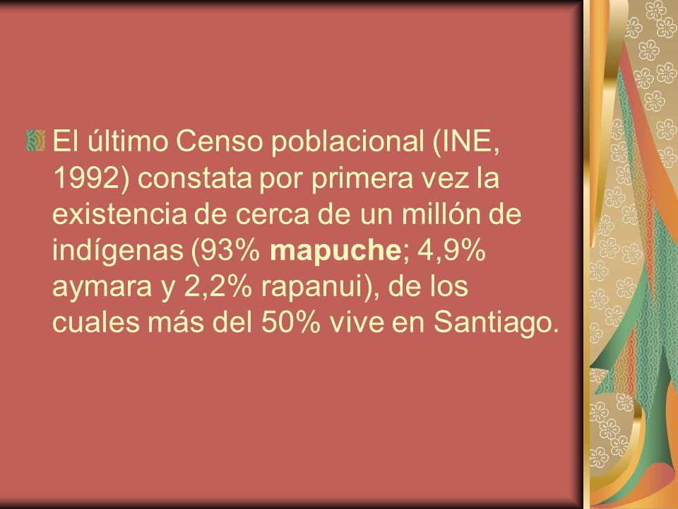 El último Censo poblacional (INE, 1992) constata por primera vez la existencia de cerca de un millón de indígenas (93% mapuche; 4,9% aymara y 2,2% rapanui), de los cuales más del 50% vive en Santiago.