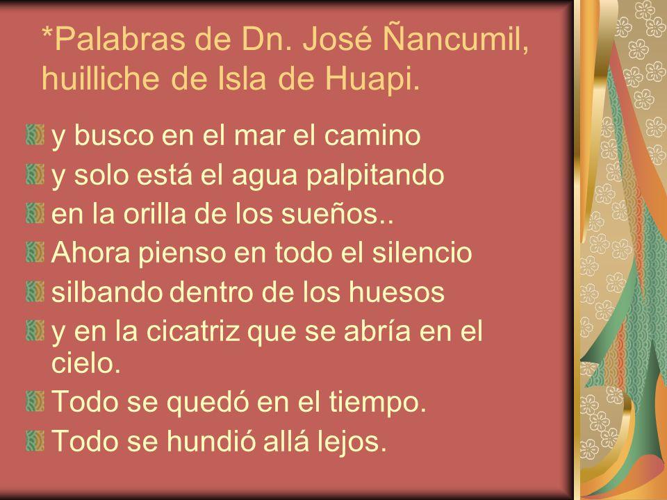 *Palabras de Dn. José Ñancumil, huilliche de Isla de Huapi.