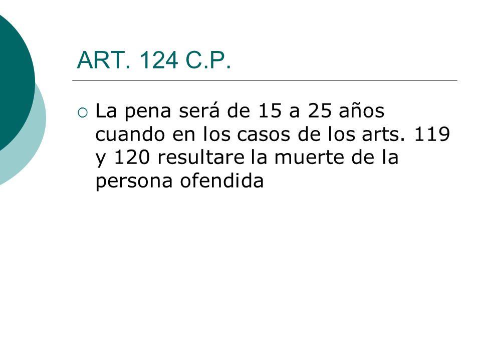 ART. 124 C.P. La pena será de 15 a 25 años cuando en los casos de los arts.