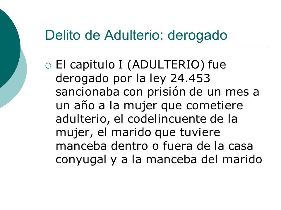 Delito de Adulterio: derogado