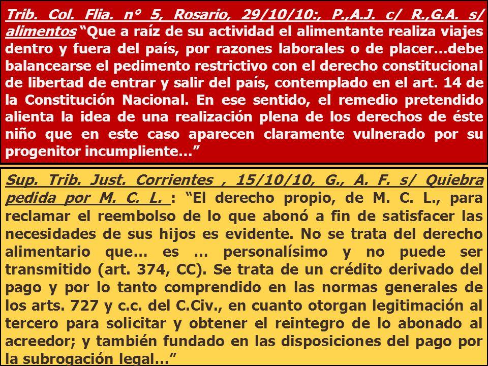 Trib. Col. Flia. n° 5, Rosario, 29/10/10:, P. ,A. J. c/ R. ,G. A