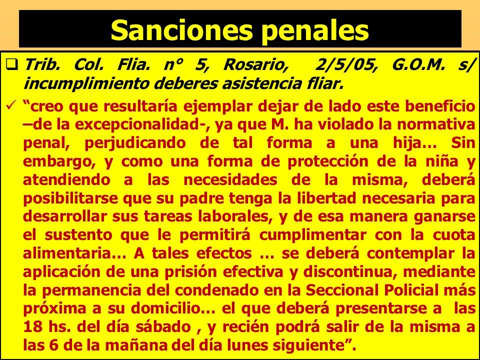Sanciones penales Trib. Col. Flia. n° 5, Rosario, 2/5/05, G.O.M. s/ incumplimiento deberes asistencia fliar.