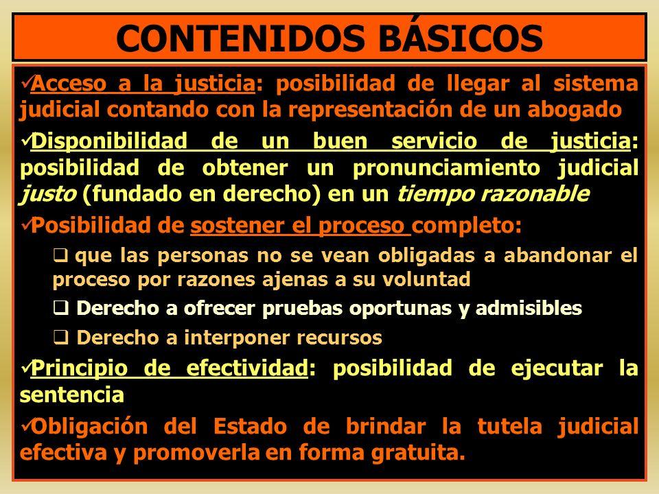 CONTENIDOS BÁSICOS Acceso a la justicia: posibilidad de llegar al sistema judicial contando con la representación de un abogado.