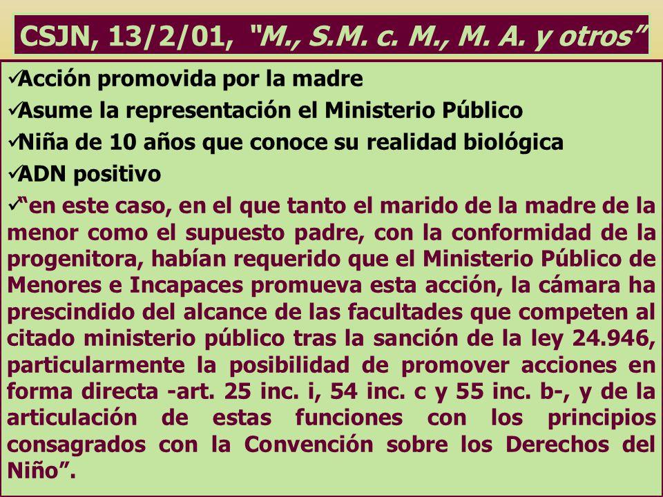 CSJN, 13/2/01, M., S.M. c. M., M. A. y otros