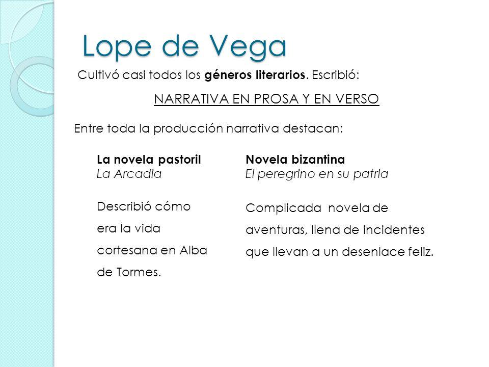 Lope de Vega NARRATIVA EN PROSA Y EN VERSO