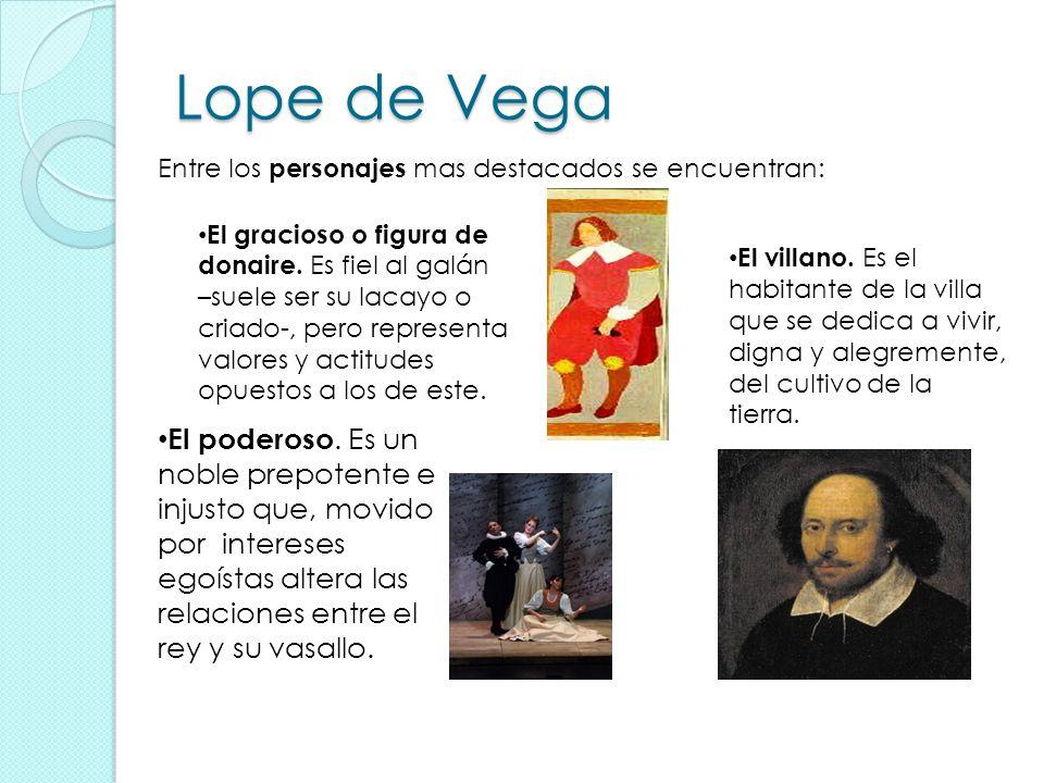 Lope de Vega Entre los personajes mas destacados se encuentran: El gracioso o figura de donaire. Es fiel al galán.