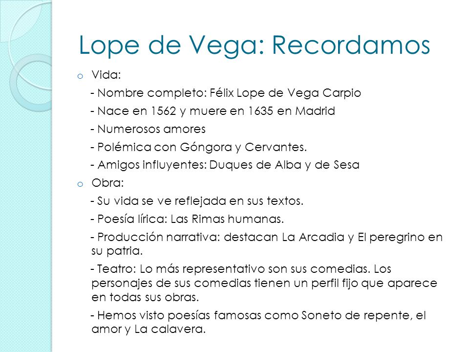 Lope de Vega: Recordamos