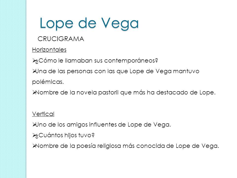 Lope de Vega CRUCIGRAMA Horizontales