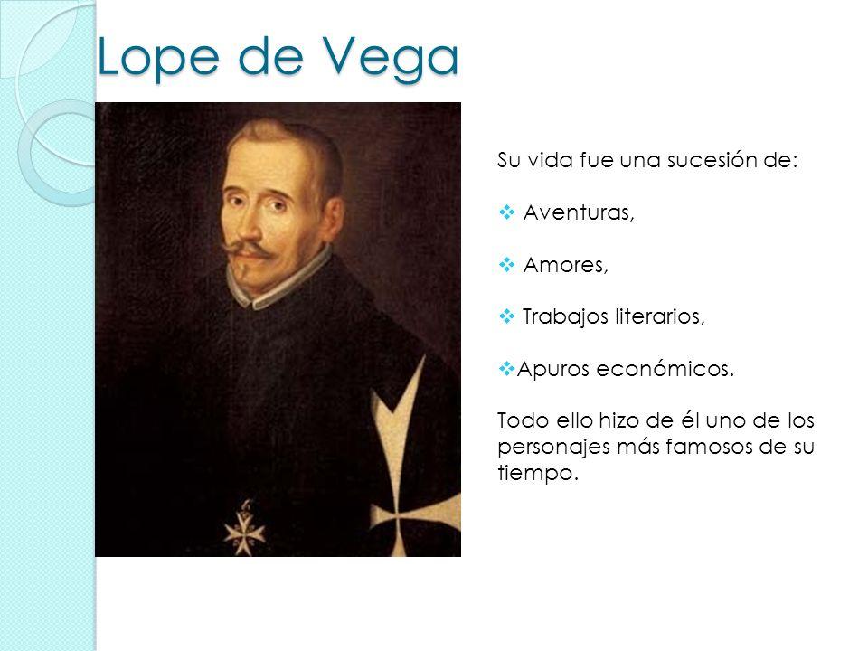 Lope de Vega Su vida fue una sucesión de: Aventuras, Amores,