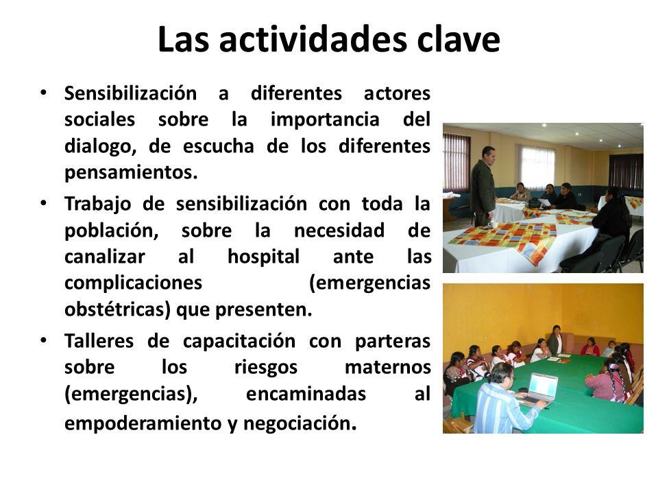 Las actividades claveSensibilización a diferentes actores sociales sobre la importancia del dialogo, de escucha de los diferentes pensamientos.