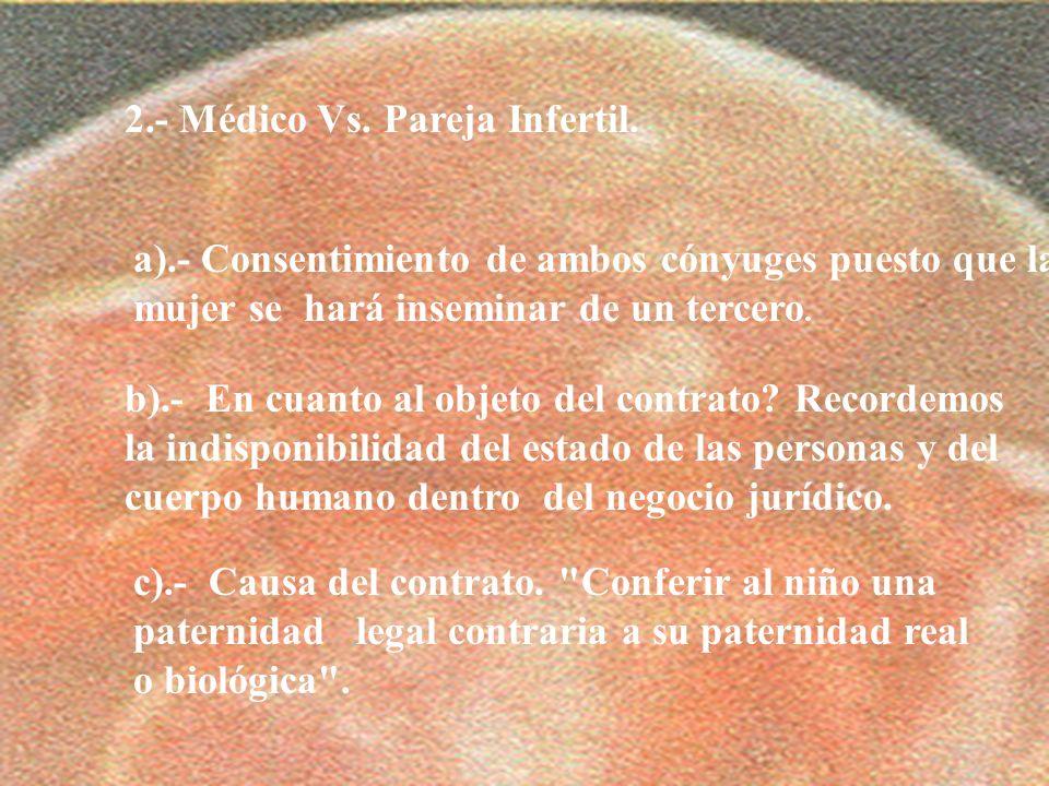 2.- Médico Vs. Pareja Infertil.