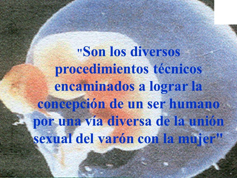 Son los diversos procedimientos técnicos encaminados a lograr la concepción de un ser humano por una vía diversa de la unión sexual del varón con la mujer