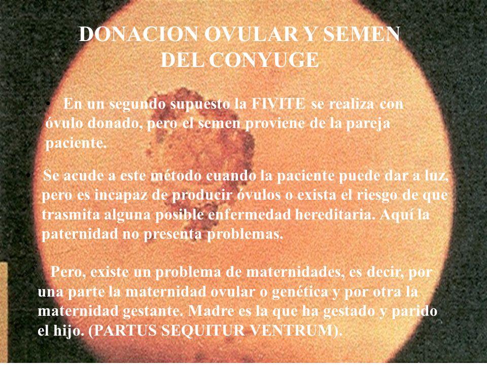 DONACION OVULAR Y SEMEN DEL CONYUGE