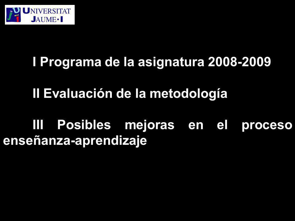 I Programa de la asignatura 2008-2009