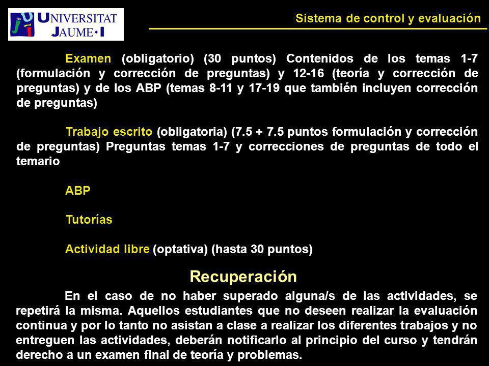 Recuperación Sistema de control y evaluación