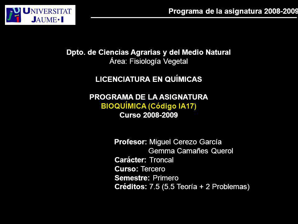 Programa de la asignatura 2008-2009