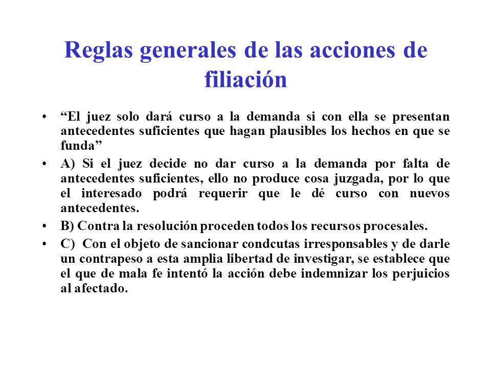Reglas generales de las acciones de filiación