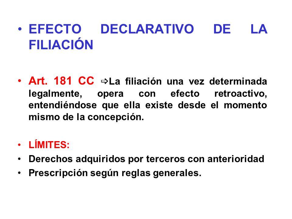 EFECTO DECLARATIVO DE LA FILIACIÓN