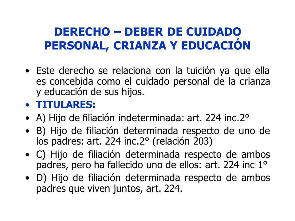DERECHO – DEBER DE CUIDADO PERSONAL, CRIANZA Y EDUCACIÓN