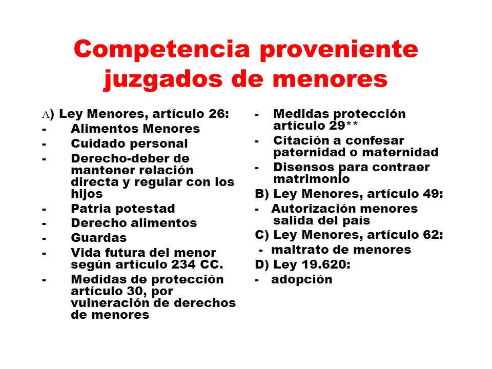 Competencia proveniente juzgados de menores