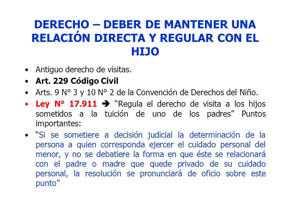 DERECHO – DEBER DE MANTENER UNA RELACIÓN DIRECTA Y REGULAR CON EL HIJO