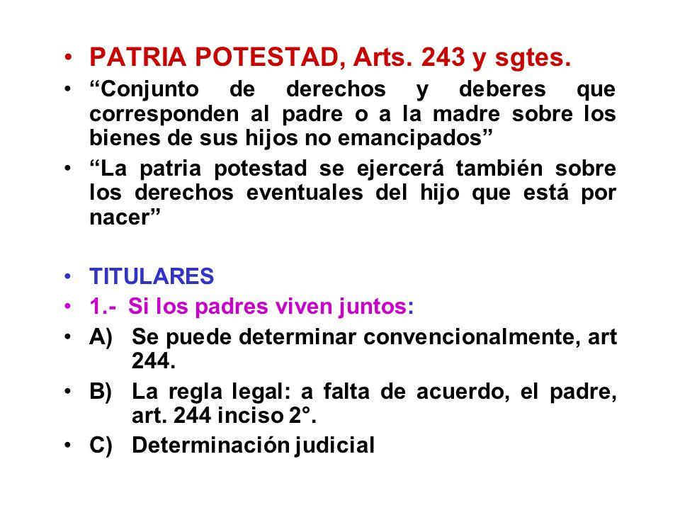 PATRIA POTESTAD, Arts. 243 y sgtes.