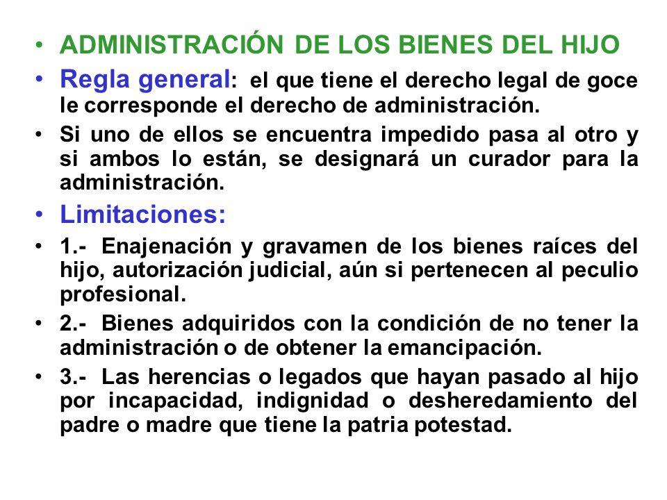 ADMINISTRACIÓN DE LOS BIENES DEL HIJO