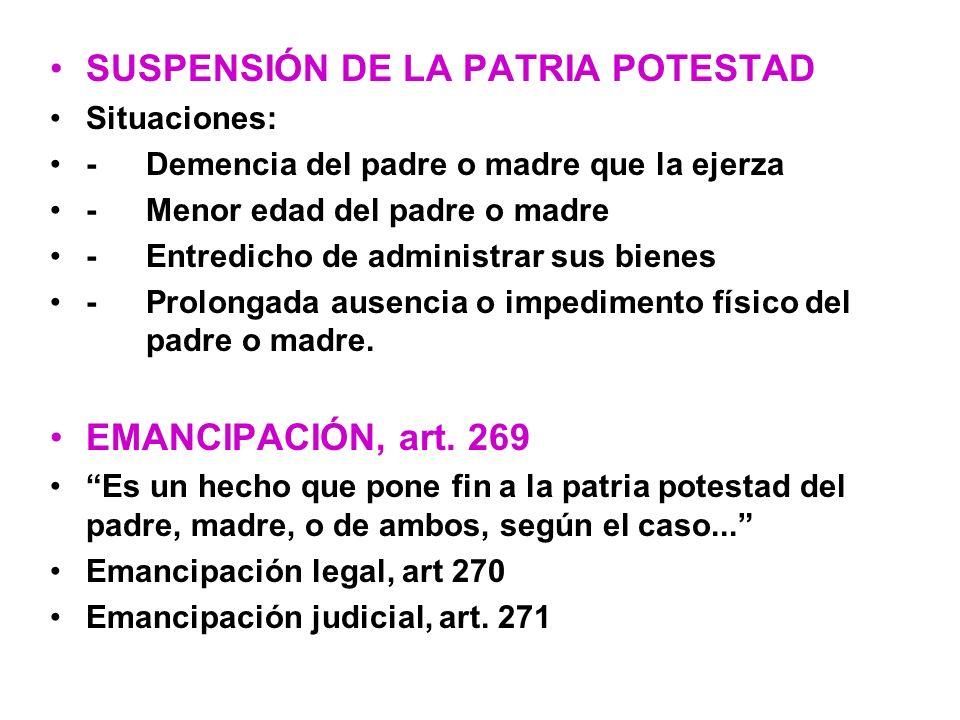 SUSPENSIÓN DE LA PATRIA POTESTAD