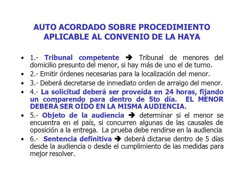AUTO ACORDADO SOBRE PROCEDIMIENTO APLICABLE AL CONVENIO DE LA HAYA